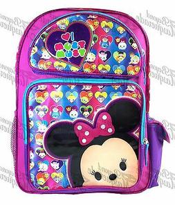 "16"" Disney Tsum Tsum Large Purple School Backpack I <3 Tsum"