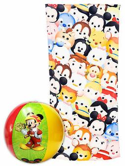 Disney Tsum Tsum Stacks Beach Towel 58x28 & Mickey Beach Bal