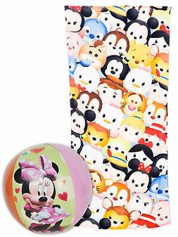 Disney Tsum Tsum Stacks Beach Towel 58x28 & Minnie Beach Bal