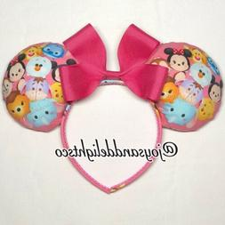 Disney-Style Pink Tsum Tsum Minnie Mickey Ears Headband With