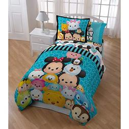LO 4 Piece Kids Blue Disney Tsum Tsum Stack Themed Comforter