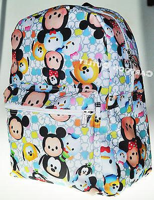 "16"" Disney Tsum Tsum Large White All Over Print School Backp"
