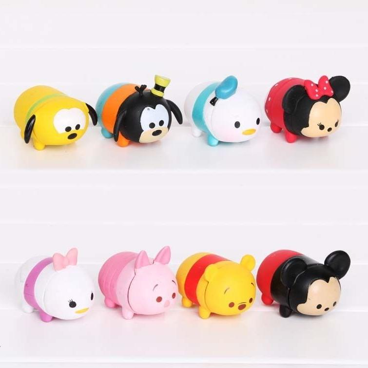 8 pcs Disney Tsum Tsum Action Figure Mickey Minnie Goofy Poo