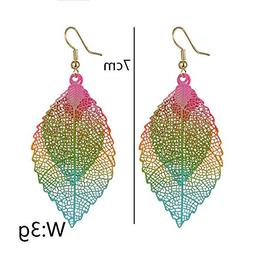 1Pair Party Colorful Hook Ear Stud Double Layer Leaf Earring