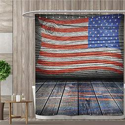 luvolux Rustic Decor American USA Flag Shower Curtain Set by