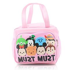 Finex - Pink Tsum Tsum Zippered Lunch Tote Bag with Carry Ha